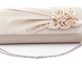 Ivory or White Bridal Floral Silk Satin Pleated Clutches Wedding Chain Evening Bag