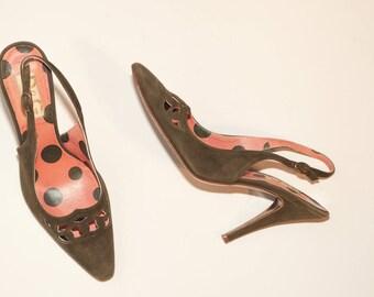 Dolce & Gabbana \ Vintage Shoes \ Green Slingback Heels with Laser Cut Detail
