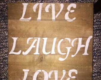 Rustic Live Laugh Love Wall Hanging