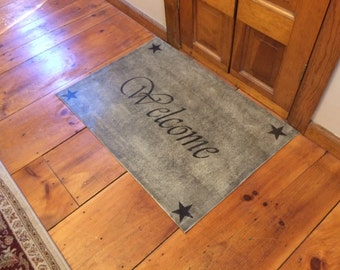 Primitive Welcome Floor cloth