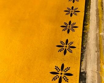 Primitive Colonial Starburst Floor Cloth 5x7 Floorcloth Yellow Ochre