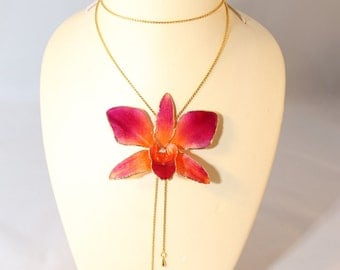 Real orchid necklace - gold plated