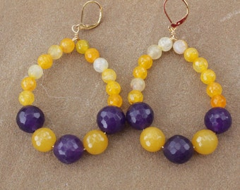 Yellow and Purple Agate Earrings