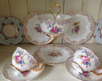 Stunning vintage fine bone china cakestand and trios