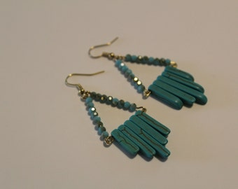 Turquoise Glass and Natural Stone Chandelier Earring