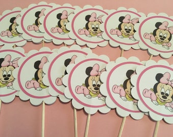 12 Disney Inspired Baby Minnie Mouse Cupcake Toppers