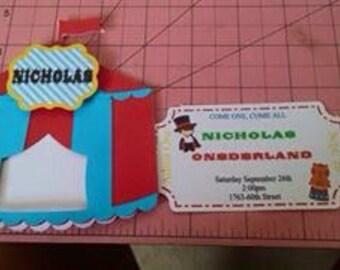 Circus /custom invitation/personalized Birthday invitations/minnie