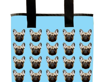 Reuseable Market Bag - Made from Recycled Materials - Eco-Friendly - Washable - Grocery Bag - French Bulldog - Light Blue - Dye Sublimation