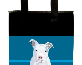 Reuseable Market Bag - Made from Recycled Materials - Eco-Friendly - Washable - Grocery Bag - Pitbull - Dog - White