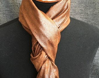 Brown Infinity Scarf, Leather Scarf, Circle Scarf, Fashion Scarf, Infinity Scarf, Dressy Scarf, Unique Scarf, Suede Scarf, Microsuede Scarf