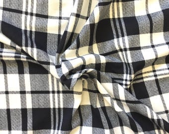 Knit Fabric, Jersey Knit Fabric, Fabric by the Yard, Stretch Fabric, Plaid Fabric - Black Plaid