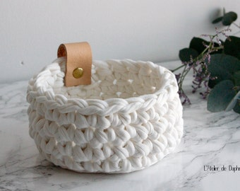 Crochet basket and broken white leather