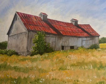 oil painting barn