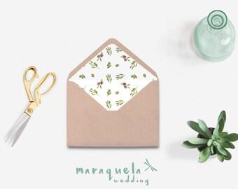 Envelope Liner,Watercolor OLIVES branches and leaves pattern,DIY Printable Envelope.Wedding envelopes,green shades,digital Liner Download