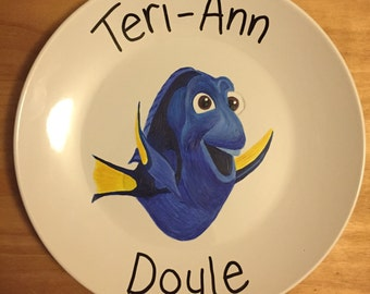 Hand Painted Finding Dory Personalised Dinner Plate Gift