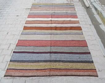 5x8.8 Vintage handwoven striped Turkish kilim rug