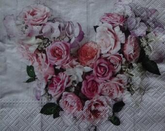 2 x Valentine's Day Napkin, Rose Motif Napkin, Romantic Napkin, Printed Paper Napkin, Floral Paper Napkin, Lunch Napkins (ROSY HEART)