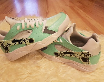 Nike Air Flight Huarache Low Yeezy and mint green splatter custom size 9
