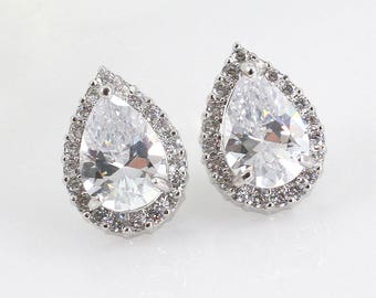 Adrienne - Bridal Teardrop Earrings, Bridal CZ Stud Earrings, Crystal Earrings, Halo Stud Earrings, Cubic Zirconia, Bridesmaid Earrings