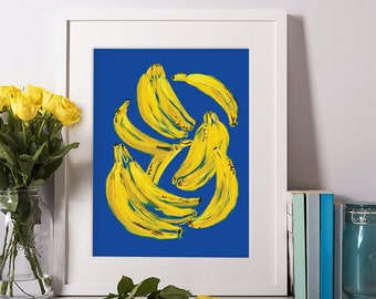 Bananas, Fruit Digital Print, Fruit Art, Kitchen Art, Kitchen Decor, Wall Art, Gift for Her, Art Prints, Home Wall Decor, 11x14, 8x10