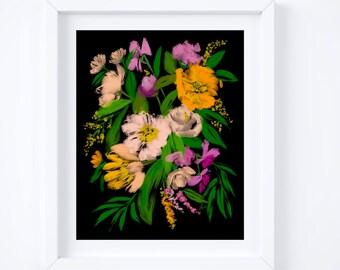"Blush Bouquet, Black Background, Flower Artwork, Wall Art, Art Print, Home Decor, Mother's Day Gift, 8x10"", 11x14"""