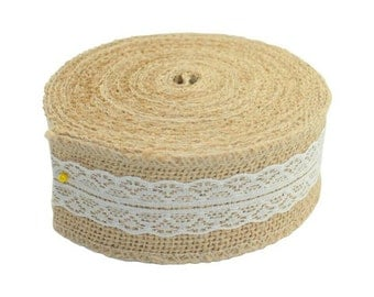 Christmas Deco 10M Natural Jute Burlap Hessian Ribbon with Lace Trims Tape Rustic Party Decor Wedding Craft Vintage