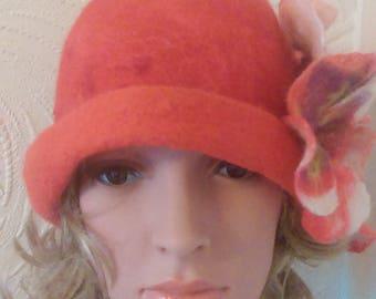 Felted 100% Wool beret Handmade