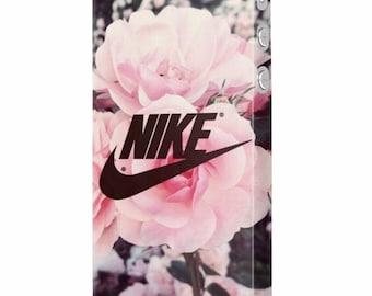 Sport Nike Flower power floral pink protective slim plastic case design for iPhone 5, 6, 7, Plus , Samsung S6, S7, Edge mobile phones