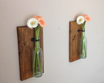 Items Similar To 3 Wine Bottle Wall Flower Vases Wall