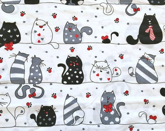 cat fabric, cats fabric, cats print, children fabric, black cat fabric, animal fabric, baby fabric