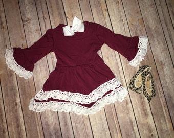 Lace Trimmed Burgendy Dress
