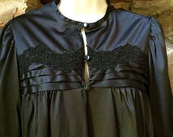 Gorgeous Vintage Gilead Bedjacket RARE Black 1960's Lingerie Semi Sheer Nightie