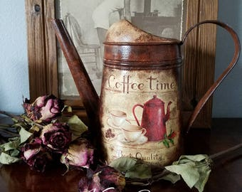 """Metal Watering Can Decoupage,  Watering Can  """"Coffee Time"""" ,  Rustic Watering Can,  Hand Painted Watering Can,  Galvanized Watering Can"""