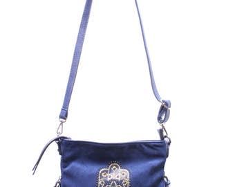 Hamsa Handmade Purse with Blue leather design