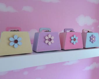 Handbag Shaped Candy Coloured Trinket Boxes