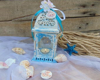 Set of 10 Nautical Lanterns,Beach Decor,Outdoor Wedding,Candle Holder,Moroccan Lanterns,Blue Lanterns,Beach Lantern, Candle Holder, Nautical