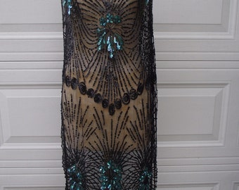 1920s Flapper Black Sequined Net Overdress, Tabard, Art Deco