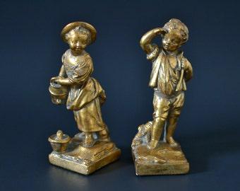 Set of 2 Golden Figurine Sculptures - vintage retro home decor girl and boy outdoor folk scene statues