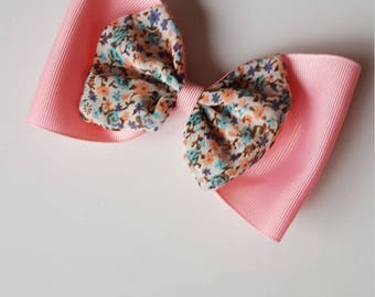 Pink with floral design hairbow
