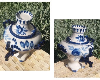 Gzhel, porcelain, samovar blue & white hand painted porcelain from Gzhel, Russian, USSR, home decor, video - https://youtu.be/-rZedc8pwzQ