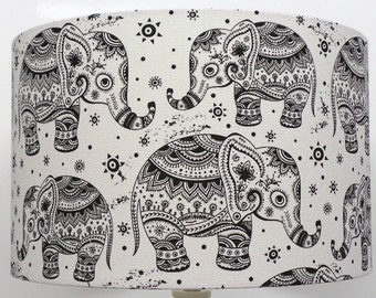 NEW Indian Black And Cream Elephant Design, Ceiling Light / Table Lamp shade