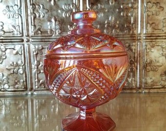Iridescent Carnival Glass, Marigold, Imperial Glass, Compote Candy Dish, 1960s