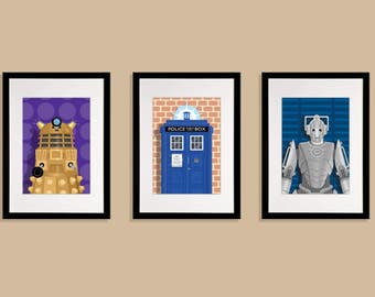 Doctor Who Set of 3 x A3 Prints (Signed By Illustrator)