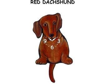 Red Dachshund dog clock