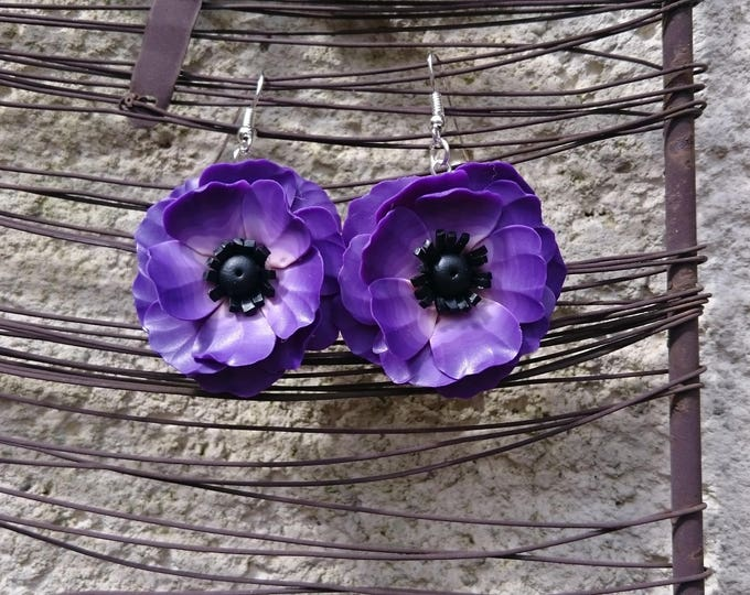 Earrings purple XL large flowers in polymer clay, on silver preparations. Mother's day and wedding