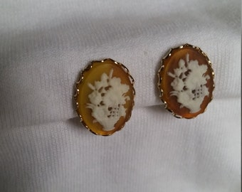 Unique floral motif, cameo style clip on earrings