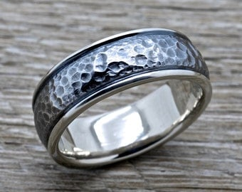 14K white Gold Hammered Wedding Band 8mm Comfort Fit Ring
