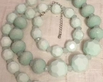 Long Seafoam/Mint Color Textured Plastic Beaded Necklace