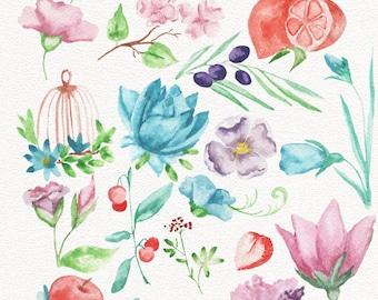 Watercolor Clipart, Flowers Clipart, Watercolor Elements, Wedding Invitation, Invitation Clipart P9