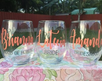 Personalized Bridesmaid 21 oz. Stemless Wine Glass | Bridal Party Wine Glass